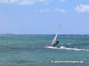 Wind surfing in Naxos Island
